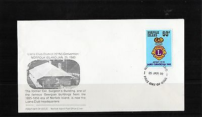 1980 Norfolk Island 50c Blue Lions Club Convention Unaddressed FDC, Mint Cond
