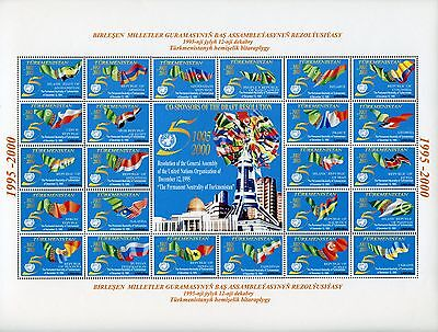 Turkmenistan 2000 UNO Flaggen Neutralität Flags Neutrality 77-100 ** MNH