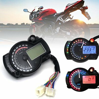Universal Motorcycle Digital LCD Odometer Speedometer Tachometer BackLight 12V