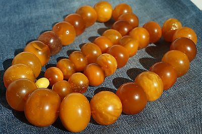 Antique natural baltic amber necklace 85 grams, first class antique amber