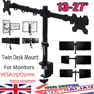 "Chic Double Twin Arm Desk Mount Bracket LCD Monitor Stand 13""-27"" inch Screen TV"