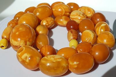 Antique baltic natural amber necklace 52 grams tiger white color, rare, ancient