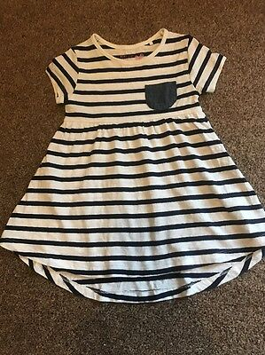 Next Girls Navy Stripe Dress Age 12-18 Months