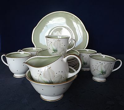 REDUCED! Susie Cooper Bone China 5-Person Tea Set - Clematis on Green Ground