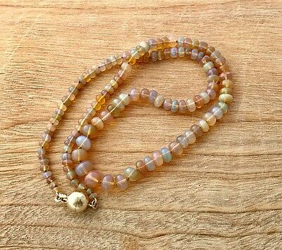 Genuine Opal Bead Necklace & 9Ct Yellow Gold Clasp Valuation $3,580