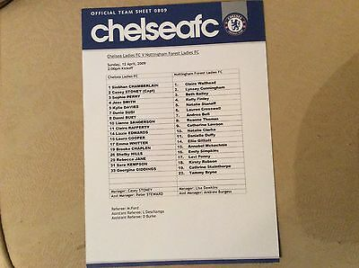 Chelsea Ladies v Notts Forest Ladies 2008-09 Teamsheet