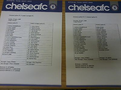 Chelsea Ladies v Leeds Carnegie Ladies 2008-09 TEAMSHEET