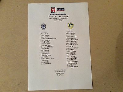 Chelsea Ladies v Leeds United Ladies 2007-08 Teamsheet