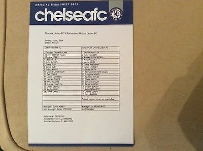 Chelsea Ladies v Rotherham Utd Ladies 2008-09 Teamsheet