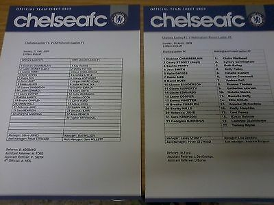 Chelsea Ladies v OOH Lincoln Ladies 2008-09 F.A CUP TEAMSHEET