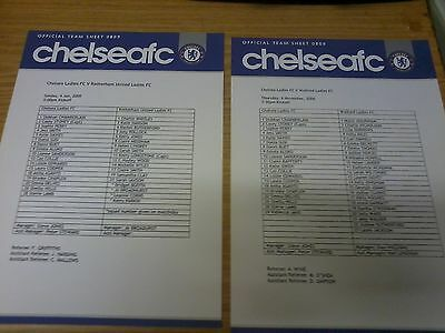 Chelsea Ladies v Watford Ladies 2008-09 TEAMSHEET