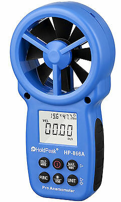 Holdpeak 866A Digital Anemometer -Measures Wind Speed+Temperature + Wind flow