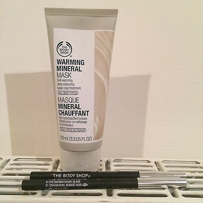 Brand New Body Shop Warming Mineral Mask and 2 x Eye Definer Eyeliner in Black
