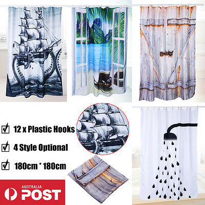 180*180CM Polyester Waterproof Bathroom Shower Curtain Panel Sheer With 12 Hooks