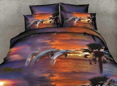 3D Sunset Dolphin Home Duvet Cover Quilt Cover Pillowcase Bed Set Queen Size