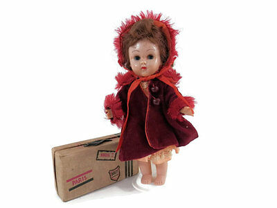 Ginny Vogue Doll Brunette Walker with Maroon Corduroy Coat Hat & Luggage