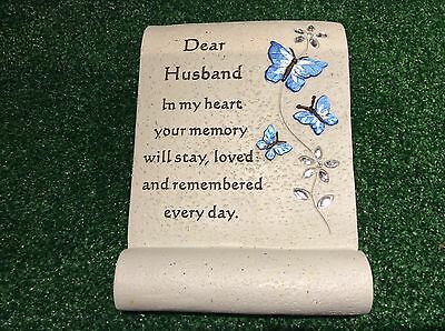 Special Husband Butterfly Scroll, Grave Memorial Ornament, Cemetery Tribute