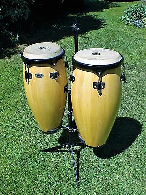 CP CONGA DRUMS WITH STAND plus one Black Mamba fibre case (see description)