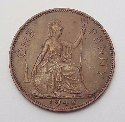 Dated : 1948 - One Penny - Copper Coin - King George VI - Great Britain