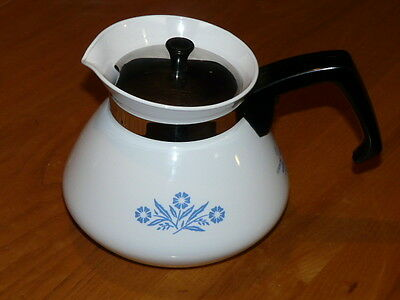 Vintage Corning Ware Blue Cornflower 6 cup Teapot Coffee Pot Stove Top