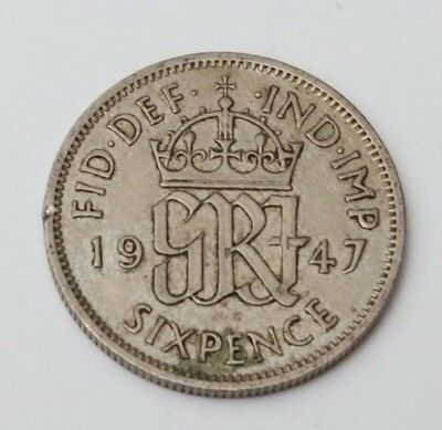 1947 - 6d / Sixpence - Great Britain - King George VI - English UK Coin