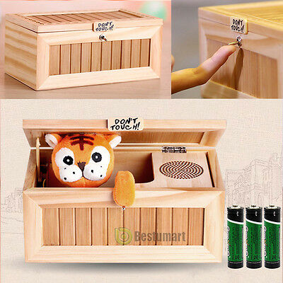 Wooden Leave Me Alone Box Useless Machine Useless Box Don't Touch Tiger Toy Gift