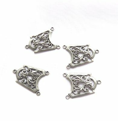 Connector Charms 4 Silver Tone Steampunk Necklace Earrings Connectors