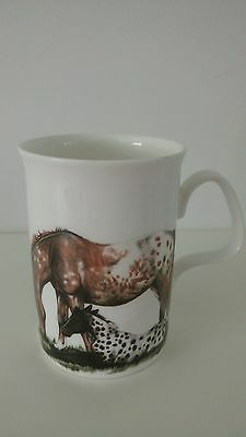 "Roy Kirkham English Bone China Mug ""horses"" 1991."