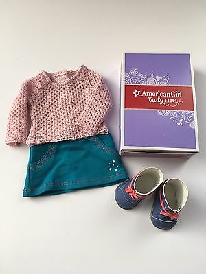 "AMERICAN GIRL 18"" OUTFIT Sparkle Sweater Top Skirt Boots for Doll - NEW IN BOX"