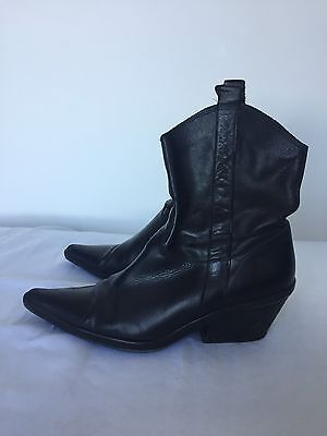 Midas Black Leather Boots, Cuban Heel, Topy Soles, Size 38.5