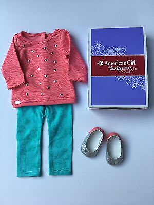 "AMERICAN GIRL 18"" OUTFIT Cool Coral Top Leggings Shoes for Doll - NEW IN BOX"