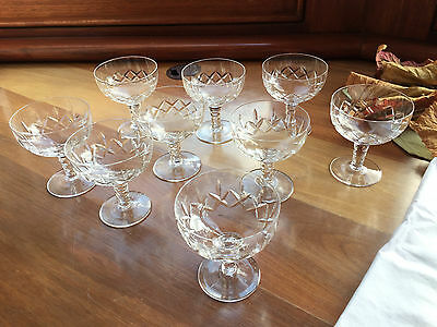 9 x Stuart Crystal Carlingford Wedding Champagne Bowls