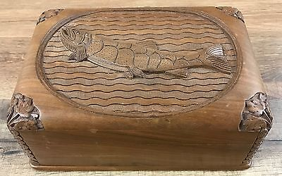 Vintage Wooden Trout Fishing Secret Lock Hand Carved Ornate Storage Jewelry Box