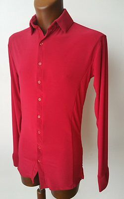 Mens Stretchy Dance Practice Shirt W Buttons For Salsa, Tango, Latin. Red