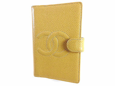 Auth CHANEL CC Logo Agenda Day Planner Cover 5 Rings Caviar Skin Yellow A-4910