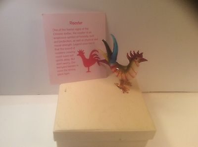 Beautiful Glass Rooster Chinese Zodiac Sign For Luck And Protection In Box