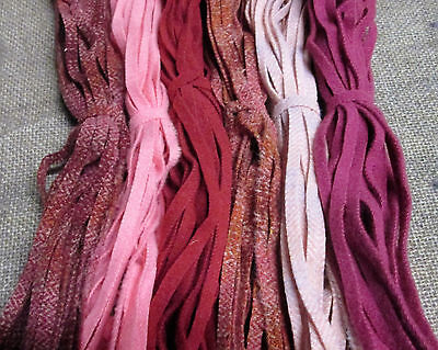 #6 Pinks, Reds, and Roses 150 Wool Strips for Primitive Rug Hooking