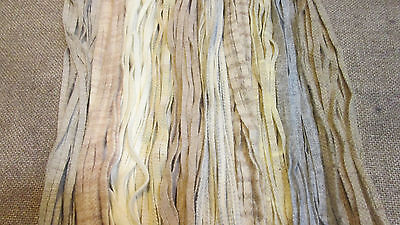 150 #6 Shades of Naturals and Oats Primitive Rug Hooking Wool Strips