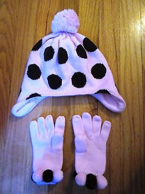 Gymboree SWEETER THAN CHOCOLATE Size 5-7 Pom Pom Hat & Gloves VG