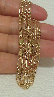 "14k Yellow Gold Solid Figaro Chain 22"" Necklace 8 Grams"