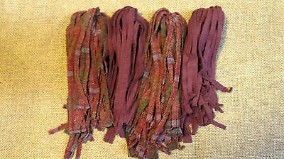 Size #7 Plum and Plum Plaid 108 Wool Strips for Primitive Rug Hooking Size