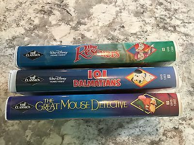 Lot of 3 Disney Black Diamond VHS Tapes Mouse Detective Rescuers 101 Dalmatians