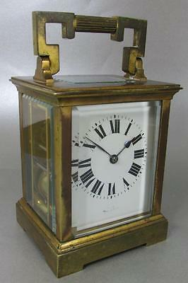 VERY NICE LARGE ANTIQUE CARRIAGE CLOCK gong striking