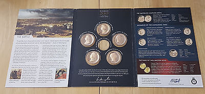 5 X Solid Bronze Battle Of Waterloo Proof Set Coin Medal Commemorative Near Mint