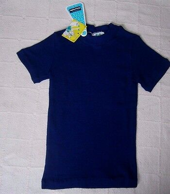 """Vintage Short-sleeve Top - Age 8-10 - 30"""""""" Chest -  Navy Ribbed Acrylic - New"""