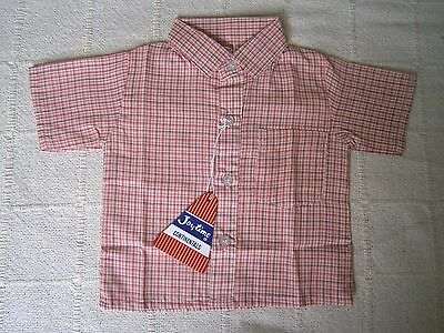 Vintage Baby Shirt - Age 1 Year -80 cm - Red/Pink Check - Cotton/Poly- New