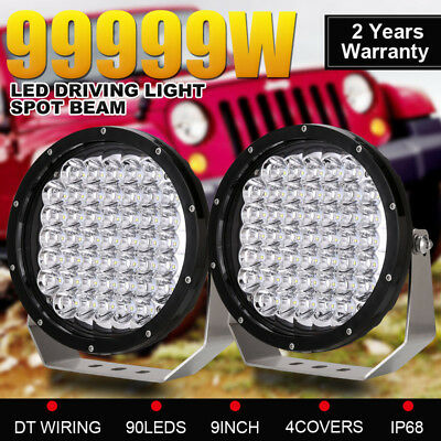9inch 9990W CREE Round Spot LED Driving Lights OffRoad 4X4 Black Spotlights work