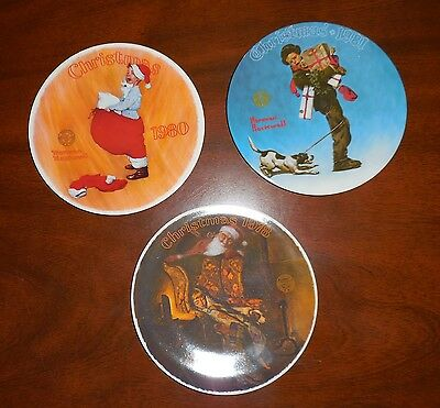 Vintage Christmas Collector Plates Norman Rockwell Set of 3, 1978. 1980, 1981