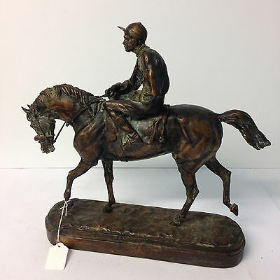 Vintage Fine Quality Bronze Figure Of A Horse And Jockey Signed 41cm Long