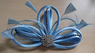Pale Blue Jewelled Hair Comb Fascinator Wedding Ladies Race Day Accessories